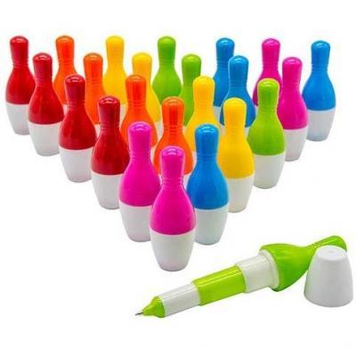 Woclhj Bowling estilo bolígrafo de punta Cute Mini telescópico bolígrafos de punta de bola retráctil bolígrafo regalo creativo para estudiantes niños 0.5 mm tinta azul  Pack de 24