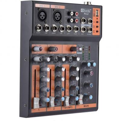 Ammoon Portátil 4 Canales Línea Mic Mezclador De Audio