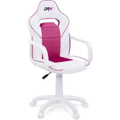 Adec, DRW, Silla de escritorio estudio o despacho, sillón gaming acabado en color Blanco y Rosa, medidas: 60 cm (ancho) x 98, 108 cm (alto) x 45 cm (fondo)