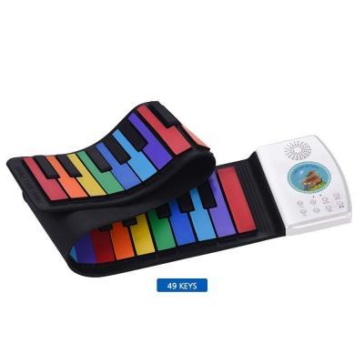 Multifuncional Portátil Plegable 49 Teclas Piano Digital Flexible Silicona Suave Música Electrónica Teclado Piano Ideal para niños y principiantes
