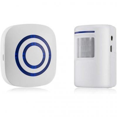 TOOGOO Detector sensor de movimiento de puerta de negocios inalambrico Alarma de entrada de seguridad de casa con 1 receptor enchufable y 1 detector PIR resistente a la intemperie