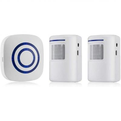 OWSOO Timbre Inalámbrico con 1 Transmisor 2 Receptor Sensor de Movimiento Infrarrojo PIR Alarma de Inducción Timbre de Bienvenida