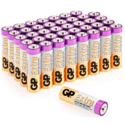 GP, Pack de 40 Pilas AA Alcalinas , Capacidad y duración excepcional , 1, 5V LR06, Mignon, MN1500-15A, AM3