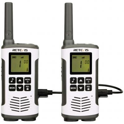 Retevis RT45 Walkie Talkie Recargable PMR 446 sin Licencia VOX Two Way Radio Pantalla LCD Retroiluminación 10 Tonos de Llamada Linterna LED con Baterías